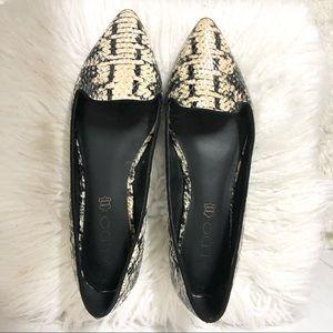 Aldo Leather Faux Snakeskin Point Toe Flats Size 7